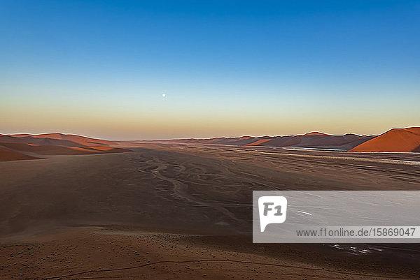 View from Dune 45  Sossusvlei  Namib Desert  Namib-Naukluft National Park; Namibia
