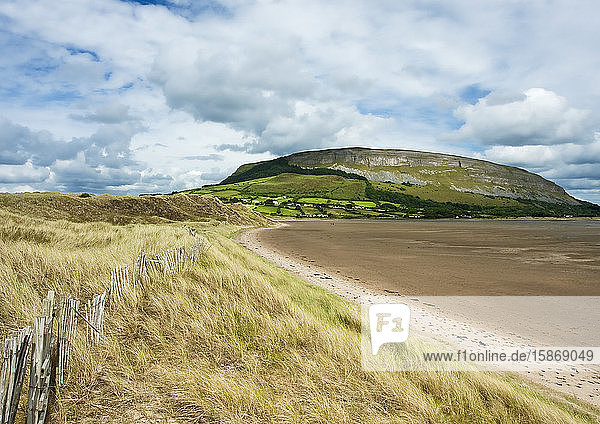 Irish coastline with beach grass and receded tide and old wooden fence  with a plateau mountain and cliffs in the background during summer; Strandhill  County Sligo  Ireland