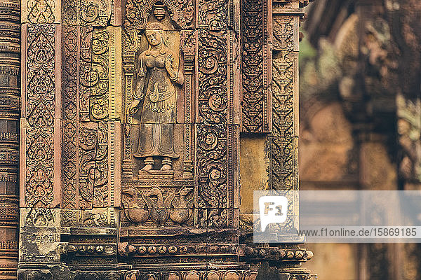 Detail of the carved facade at Banteay Srei Temple  Angkor Wat complex; Siem Reap  Cambodia