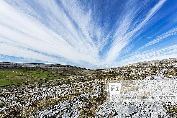 Karst limestone landscape of the burren on a blue sky clear summer day  Burren National Park; County Clare  Ireland