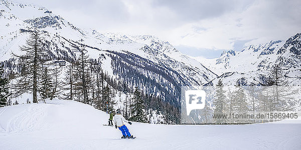 Snowboarding in the Aosta Valley  Italian side of Mont Blanc; Courmayeur  Valle d'Aosta  italy