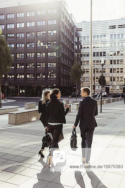 Rückansicht von Unternehmern  die beim Spaziergang im Freien über Geschäftsstrategien diskutieren
