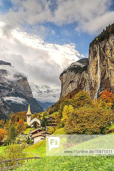 Alpine village of Lauterbrunnen and Trummelbach Falls cascade in autumn  canton of Bern  Bernese Oberland  Switzerland  Europe
