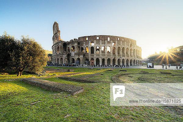 Colosseum at sunrise  UNESCO World Heritage Site  Rome  Lazio  Italy  Europe