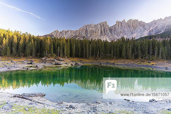 Sunset over Carezza Lake and Latemar mountain range  Dolomites  South Tyrol  Italy  Europe