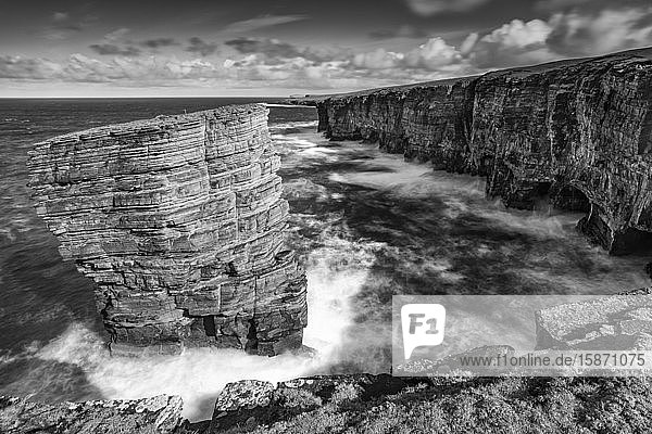 North Gaulton Castle sea stack on the wild west coast of Mainland  Orkney  Scotland  United Kingdom  Europe