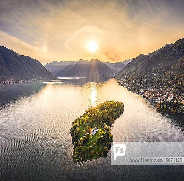 Aerial view of Comacina Island at sunset  Lake Como  Lombardy  Italian Lakes  Italy  Europe