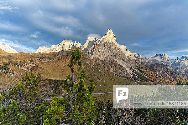 Sunset over Rolle Pass and Cimon della Pala in autumn  Pale di San Martino (Pala group)  Dolomites  Trentino  Trento  Italy  Europe