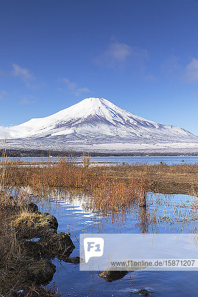 Mount Fuji  UNESCO World Heritage Site  and Lake Yamanaka  Yamanashi Prefecture  Honshu  Japan  Asia