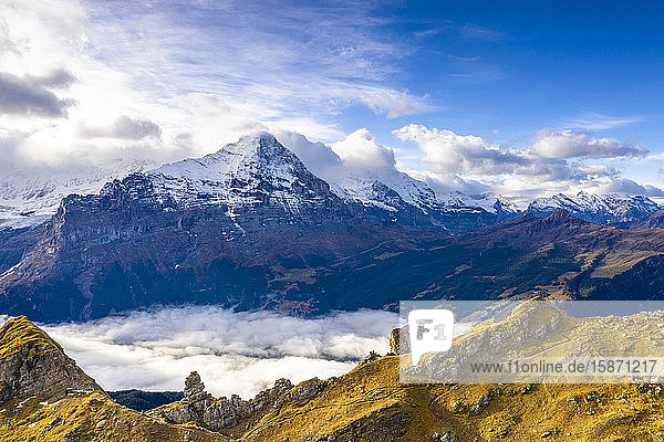 Cloudy sky over Mount Eiger seen from high mountains above Grindelwald in autumn  Bernese Alps  Canton of Bern  Switzerland  Europe