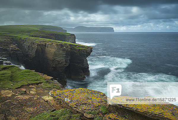Dramatic cliff top scenery on the wild west coast of Orkney  Scotland  United Kingdom  Europe