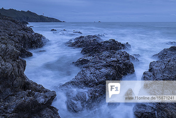 Rugged coast beneath Start Point lighthouse in winter  South Hams  Devon  England  United Kingdom  Europe