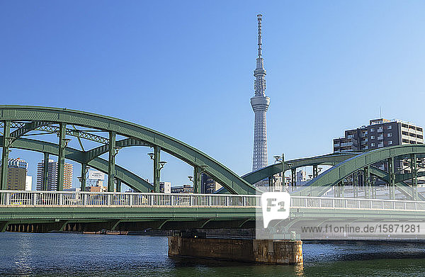 Skytree and Komagata Bridge  Tokyo  Honshu  Japan  Asia