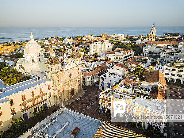 Aerial view by drone of Cartagena Old Town  Bolivar Department  Colombia  South America
