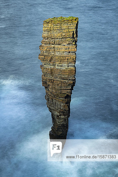 North Gaulton Castle sea stack off the wild west coast of the Orkney Islands  Scotland  United Kingdom  Europe