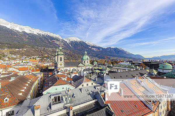 Cathedral of St. James from above  Innsbruck  Tyrol  Austria  Europe