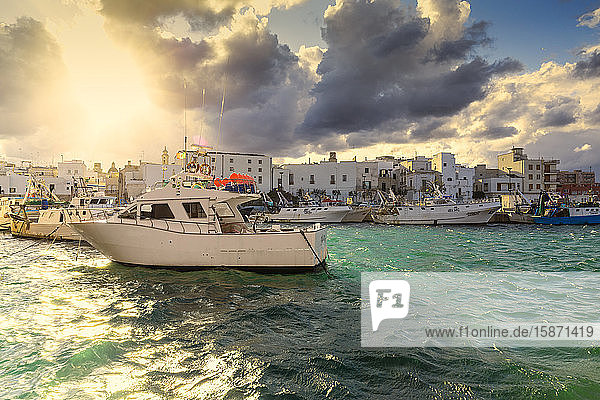 Cloudy sunset in the port of Monopoli  Apulia  Italy  Europe