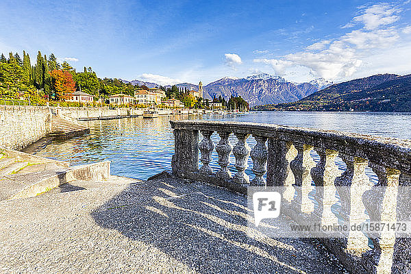 Lakeshore terrace with view of the village of Tremezzo  Lake Como  Lombardy  Italian Lakes  Italy  Europe