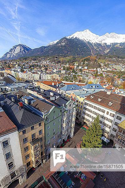 City of Innsbruck from above  Tyrol  Austria  Europe