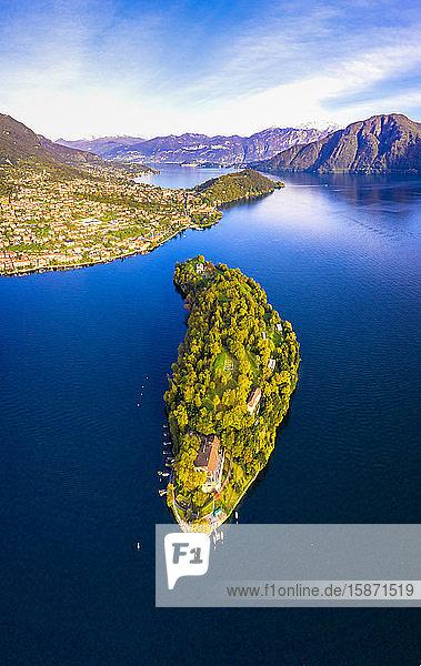 Aerial view of Comacina Island in autumn  Lake Como  Lombardy  Italian Lakes  Italy  Europe