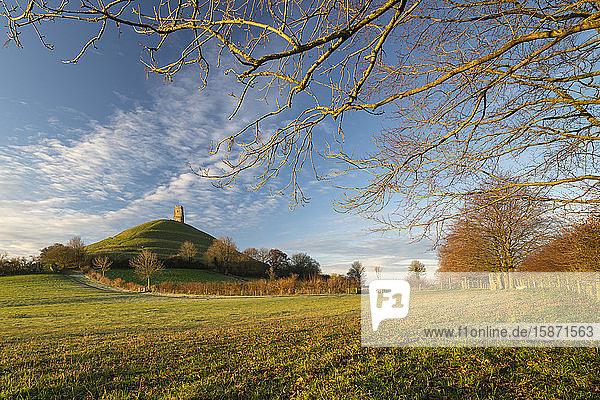 Glastonbury Tor on a beautiful winter morning  Glastonbury  Somerset  England  United Kingdom  Europe
