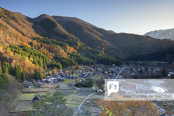 Elevated view of Ogimachi  UNESCO World Heritage Site  Shirakawa-go  Toyama Prefecture  Honshu  Japan  Asia