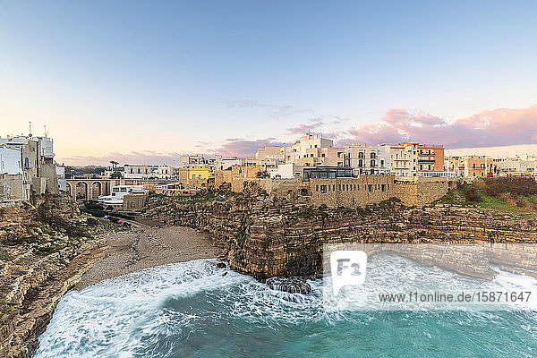 Sunrise with view on the beach of Lama Monachile from above  Polignano a Mare  Apulia  Italy  Europe