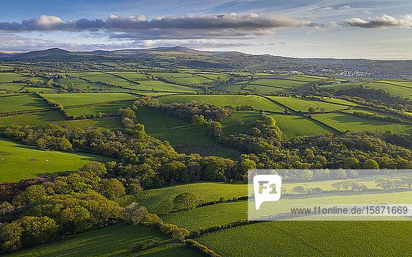 Aerial view by drone of rolling countryside near Dartmoor  Devon  England  United Kingdom  Europe
