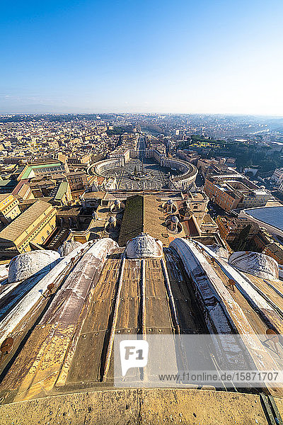 St. Peter's Square and skyline from top of dome of St. Peter's Basilica (Basilica di San Pietro)  Vatican City  UNESCO World Heritage Site  Rome  Lazio  Italy  Europe