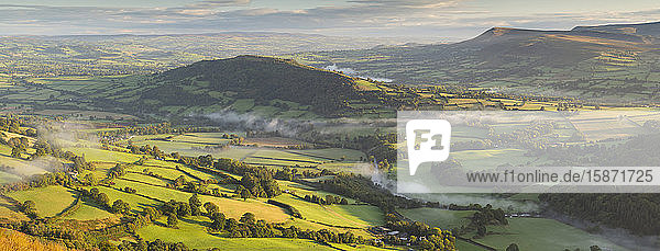 Beautiful rolling countryside in the Usk Valley  Brecon Beacons National Park  Powys  Wales  United Kingdom  Europe