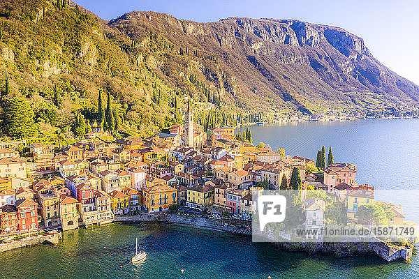 Aerial view by drone of Varenna  Lake Como  Lombardy  Italian Lakes  Italy  Europe