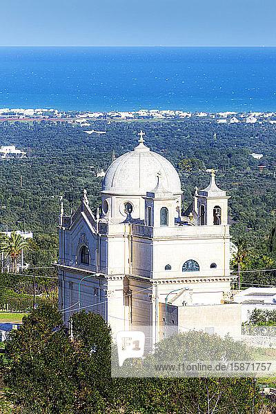 Church of Madonna della Grata near Ostuni with the sea in the background  Ostuni  Apulia  Italy  Europe