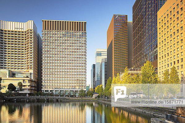 Skyscrapers of Marunouchi and Imperial Palace moat,  Tokyo,  Honshu,  Japan,  Asia