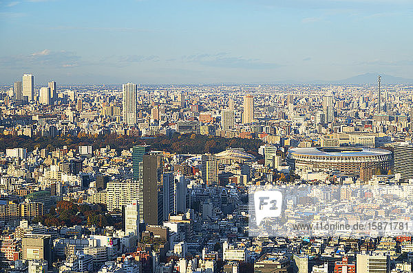 View of Tokyo Olympic Stadium and downtown,  Tokyo,  Honshu,  Japan,  Asia