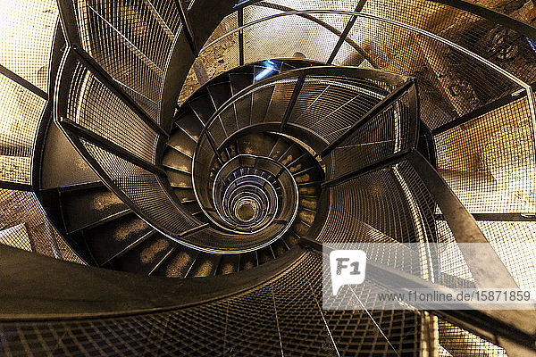 Low angle view of spiral staircase in the Stadtturm tower  Innsbruck  Tyrol  Austria  Europe