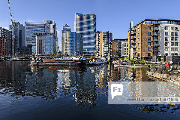 Reflections of Canary Wharf and Docklands  London  England  United Kingdom  Europe