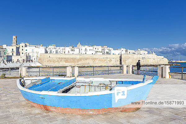 Old boat with the Italian old town in the background  Monopoli  Apulia  Italy  Europe