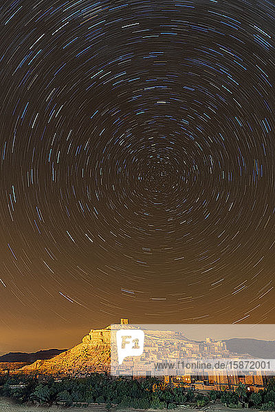Star trails above The Kasbah Ait-Ben Haddou  UNESCO World Heritage Site  Morocco  North Africa  Africa