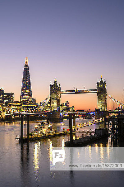 The Shard and Tower Bridge at sunset on the River Thames  London  England  United Kingdom  Europe