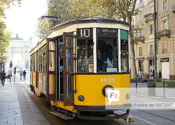 A 1920s yellow electric tram in central Milan  Lombardy  Italy  Europe