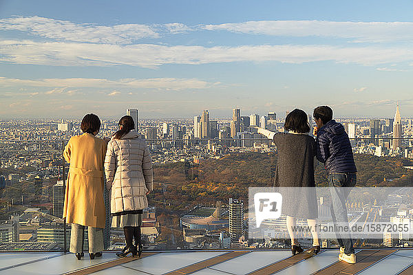 People on rooftop of Shibuya Scramble Square  Shibuya  Tokyo  Honshu  Japan  Asia