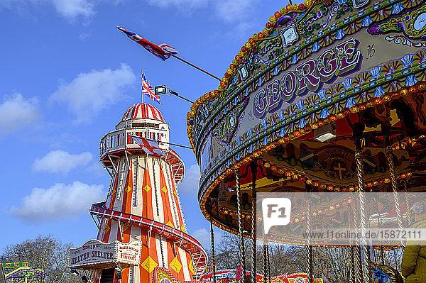 View of helter skelter ride  Winter Wonderland Christmas Fair  Hyde Park  London  England  United Kingdom  Europe
