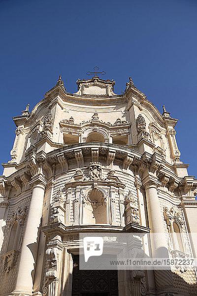 The ornate facade of Chiesa San Mateo in the historic center of Lecce  Puglia  Italy  Europe