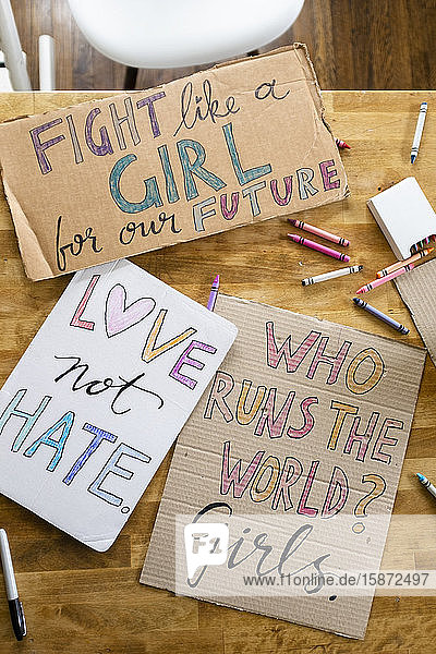 Women's march protest signs on table
