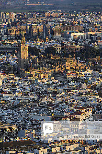 Spain  Andalusia  Seville  High angle view over cathedral and city
