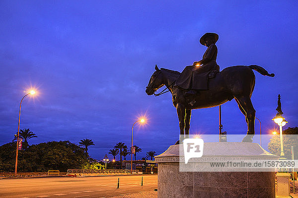 Spain  Andalusia  Seville  Equestrian statue of Condesa De Barcelona Spain, Andalusia, Seville, Equestrian statue of Condesa De Barcelona