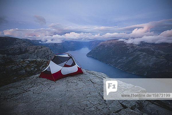 Tent on Preikestolen cliff in Rogaland  Norway Tent on Preikestolen cliff in Rogaland, Norway