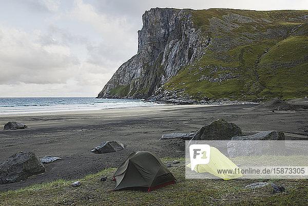 Tents on Kvalvika beach in Lofoten Islands  Norway