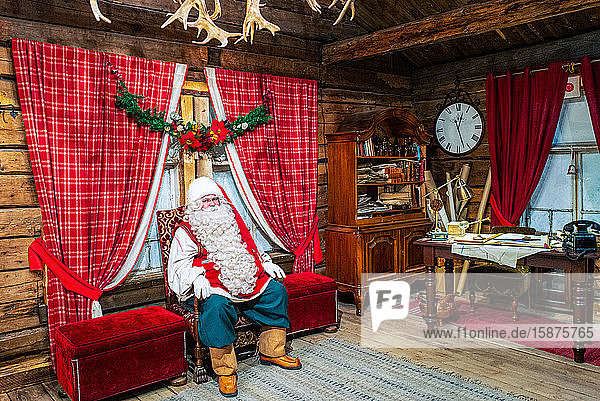 Rovaniemi  Finland  A man dressed as Santa Claus in the home of the Santa Claus Village and Park