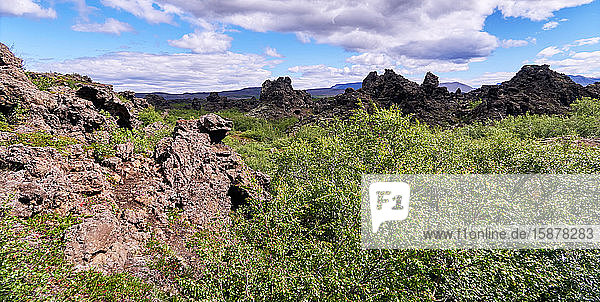Europe Iceland   Dimmuborgir is a volcanic formation  Lake Mývatn region. Its name  meaning 'dark castles'  is due to the lava formations in the form of columns